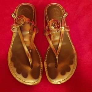 Tory Burch Ali Gold Mettalic Thong Sandal